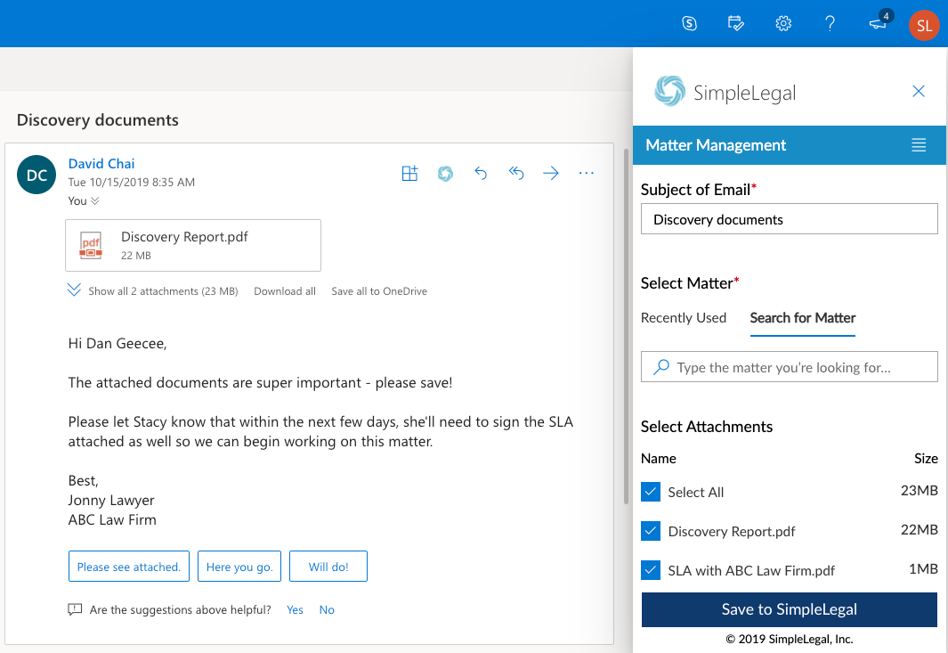 Outlook Add-in screenshow
