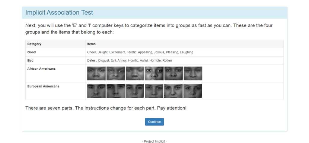 Implicit Association Test Instructions