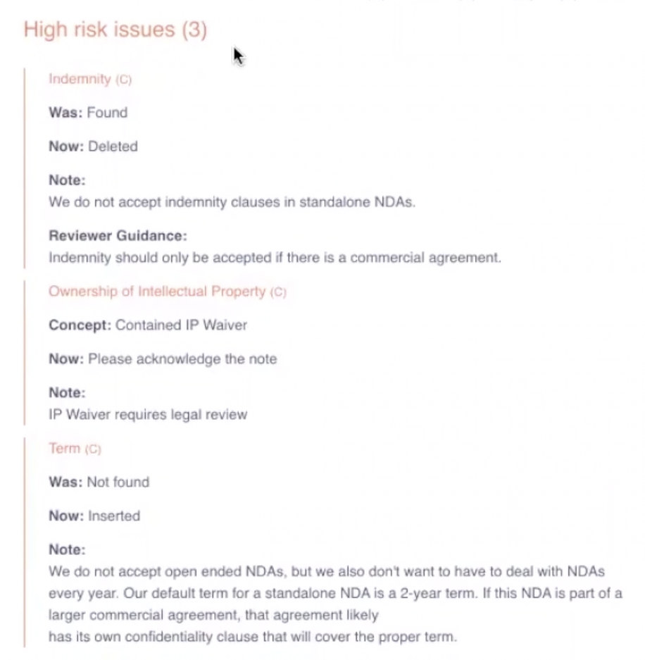 ReviewAI flagging high risk issues